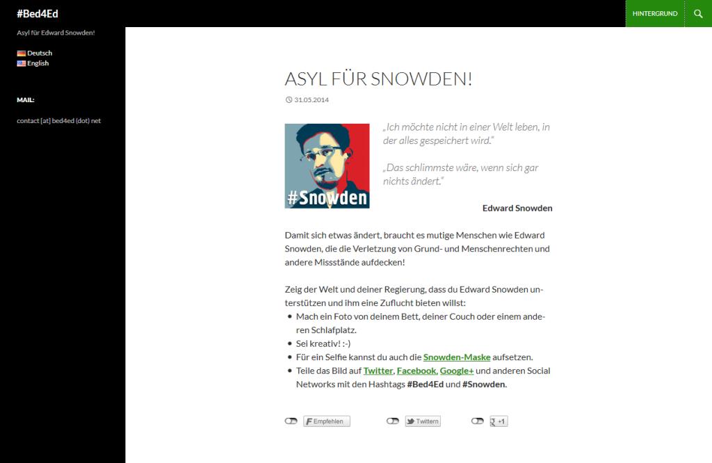 Homepage der #Bed4Ed-Kampagnenseite, die unter http://bed4ed.net erreichbar war.