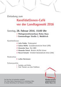 """Einladung zum """"KandidatInnen-Café"""" (Einladung: Förderverein Mehrgenerationenhaus Rotes Haus e.V.)."""