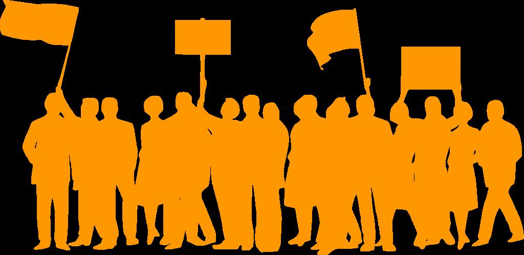 Einfarbiges Clipart, das aus mehreren demonstrierenden Personen besteht, von denen einige Flaggen und Transparente in die Höhe halten.